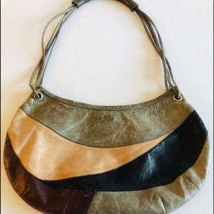 Vintage leather patchwork small shoulder bag